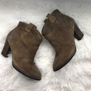 Clark's indigo distressed booties - size 6